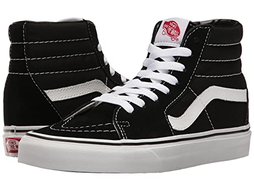 Vans Sk8-Hi Skate Shoe (9.5 D(M) US / 42-43 EUR, Black/Black/White Canvas)