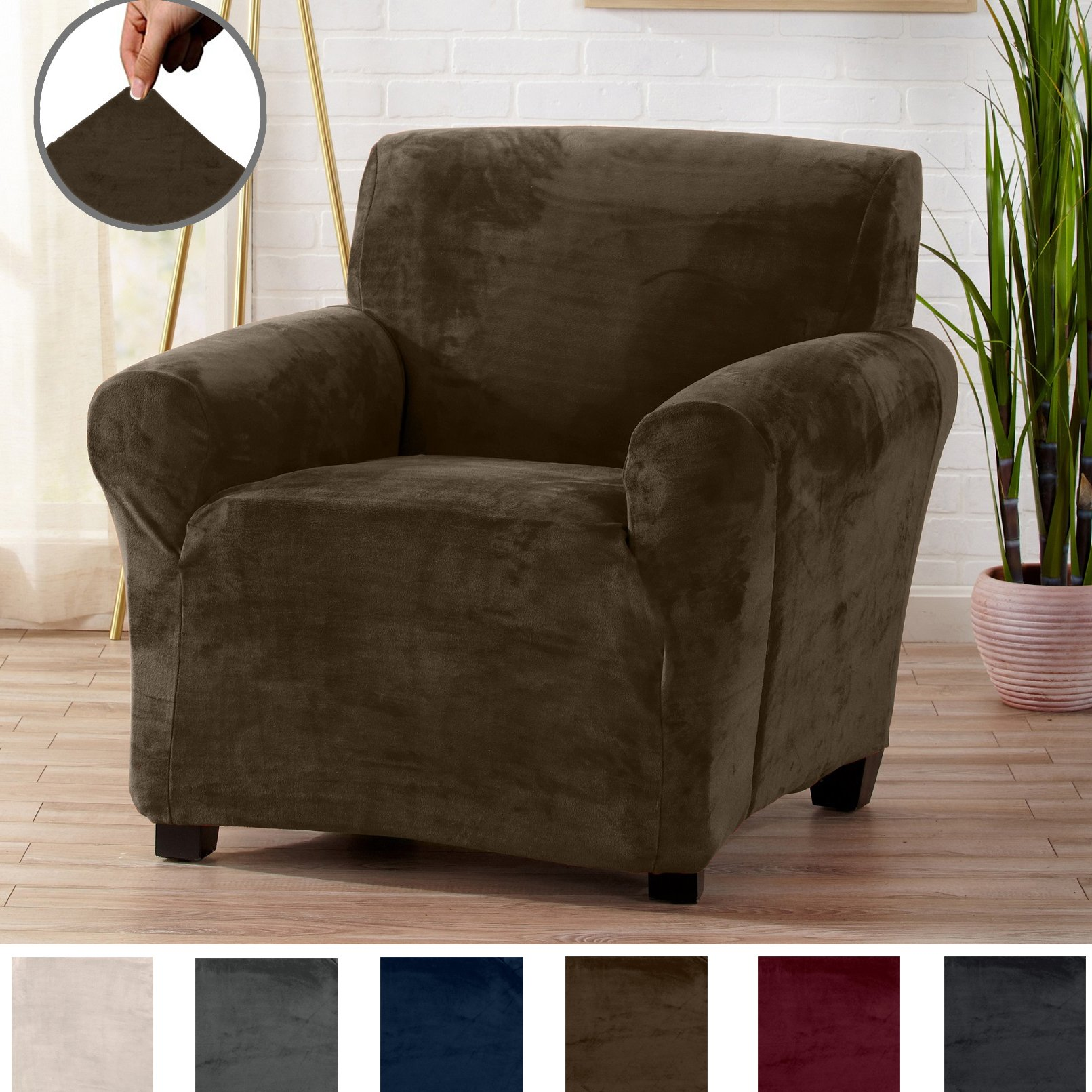 Great Bay Home Modern Velvet Plush Strapless Slipcover. Form Fit Stretch, Stylish Furniture Cover/Protector. Gale Collection by Brand. (Chair, Walnut Brown)