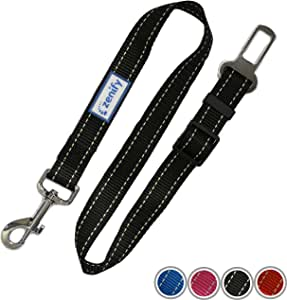 Zenify Dog Car Seat Belt Seatbelt Lead Puppy Harness - Heavy Duty Adjustable Carseat Clip Buckle Leash for Dogs Puppies Pets Travel - Pet Safe Collar Accessories Supplies Truck Safety Covers (Black)