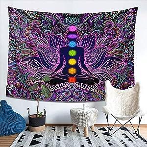 Seven Chakra Tapestry - Bohemian Mandala Spiritual Tapestries Yoga Meditation Wall Hanging Boho Studio Room Art Home Decoration Gift Bedroom Decor Living Room Divider Door Curtain Balcony Sheer 78.7
