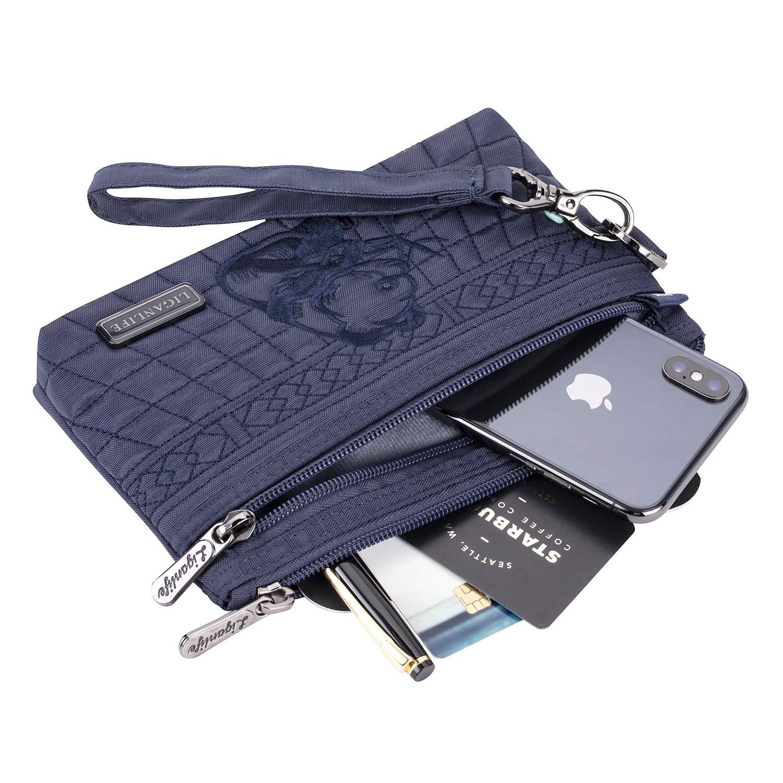 LIGANLIFE Women's Clutch Bag Water Resistant Polyester Wristlet Bag Rfid Protection (Royal blue) by LIGANLIFE (Image #3)