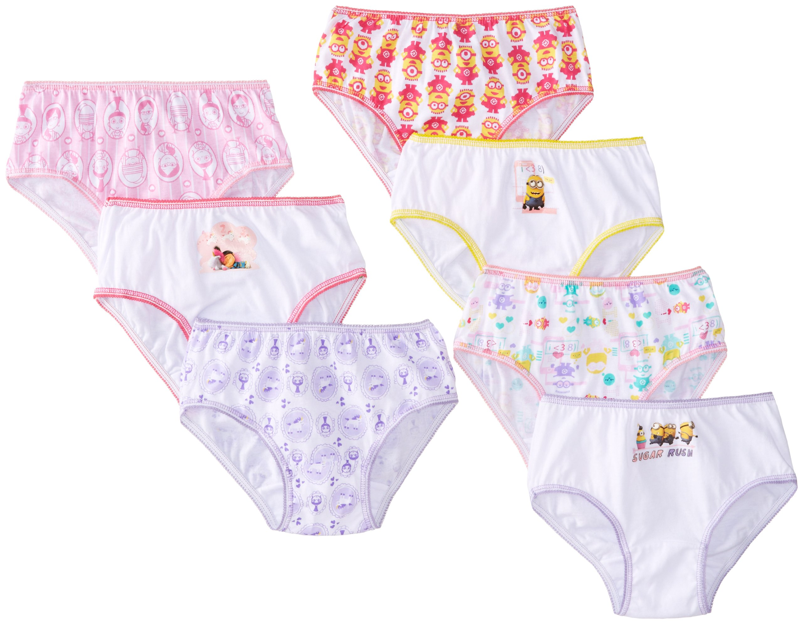 Despicable Me Big Girls Minions 7 Pack Panty, Assorted, 8