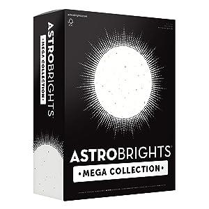 "Astrobrights Mega Collection Colored Cardstock, 8 ½ x 11, 65 lb/176 gsm, Bright Confetti White, 320 CT. (91683)""Amazon Exclusive"" - More Sheets!"