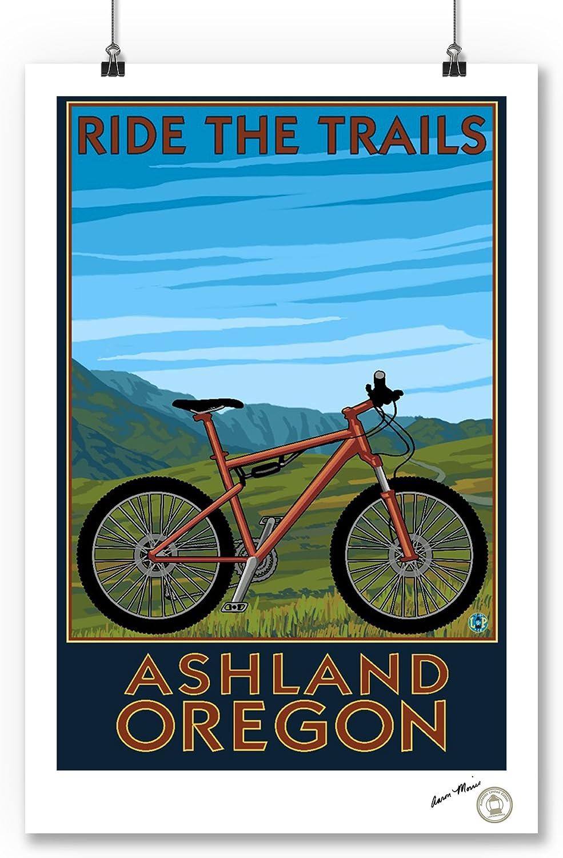 Mountain Bike Scene Oregon 24x36 Giclee Gallery Print, Wall Decor Travel Poster Ashland Ride the Trails