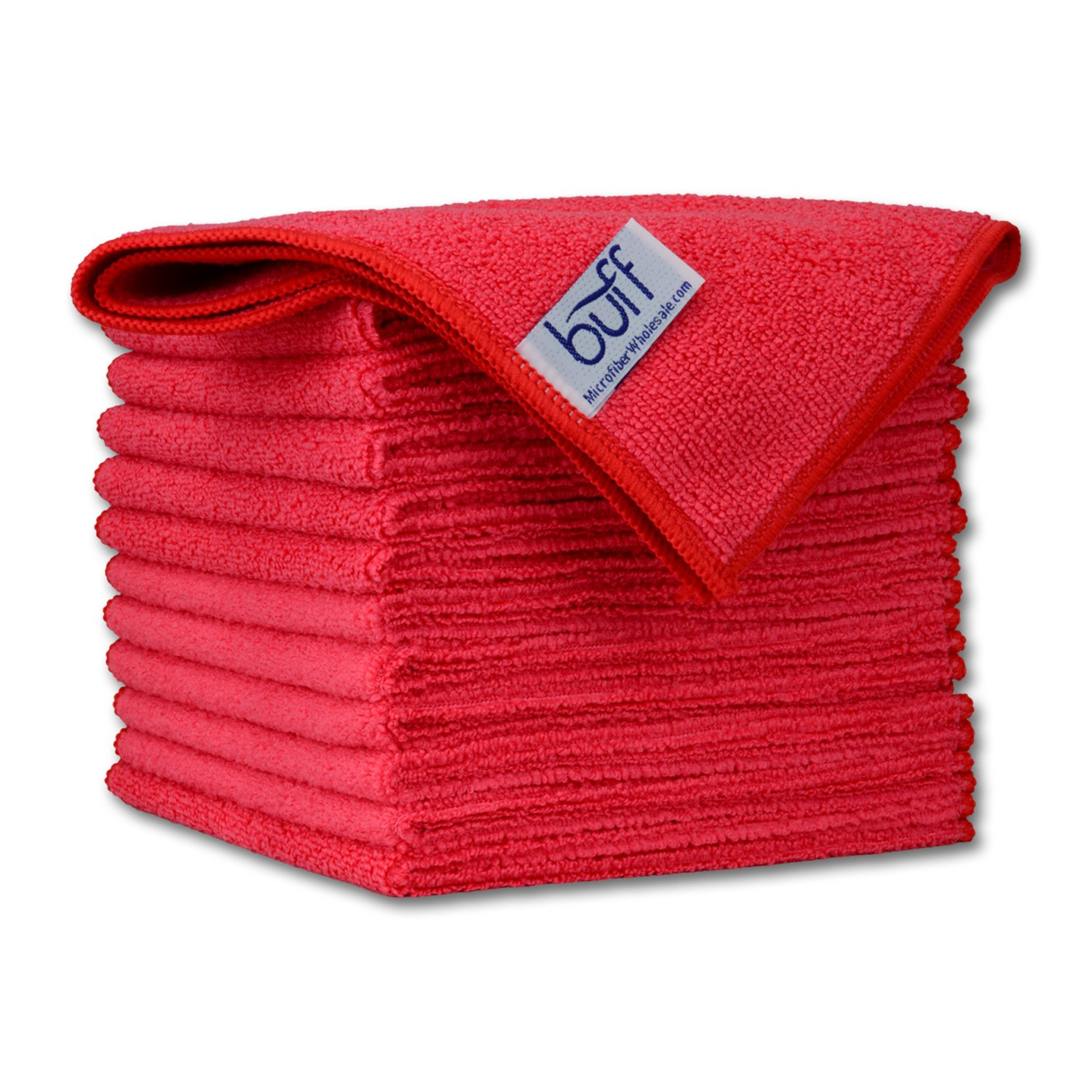 12'' x 12'' Buff Pro Multi-Surface Microfiber Cleaning Cloths | Red - 12 Pack | Premium Microfiber Towels for Cleaning Glass, Kitchens, Bathrooms, Automotive
