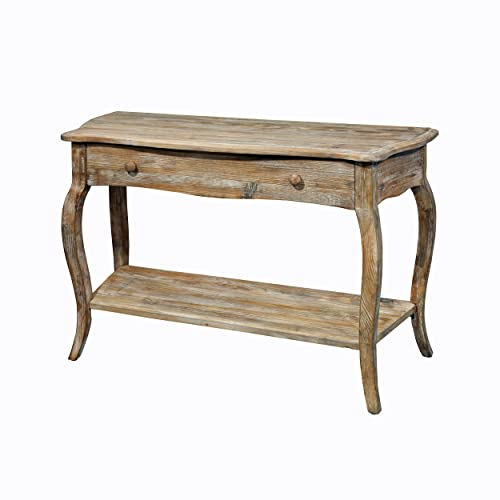 Austerity Reclaimed Wood Console Table with Open Shelf, Driftwood
