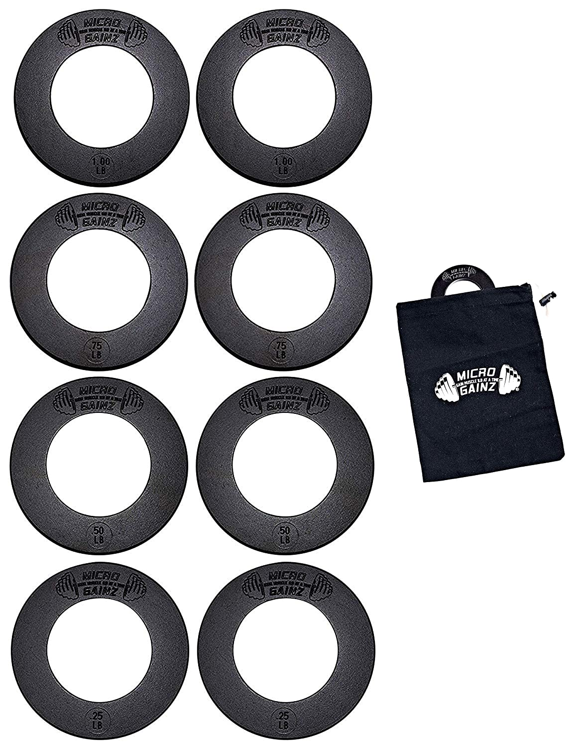 USA Made Micro Gainz Olympic Fractional Weight Plate Set of .25LB-.50LB-.75LB-1LB Plates 8 Plate Set – Designed for Olympic Barbells, Used for Strength Training and Micro Loading w Carrying Bag