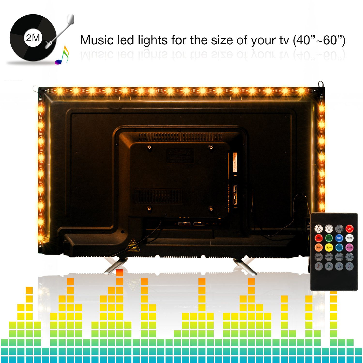 Led Light Strips,ViLSOM 2M/6.56Ft SMD 5050 USB Powered Led tv Backlight Sync to Music with 8 Colors,4 Flash Modes and 4 Music Modes for 40-60 inch HDTV,TV Backlight (4 x 50CM/1.64Ft led Strips)