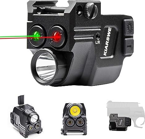 KIARSWE Shockproof Laser Light Combo, 500 Lumens Strobe Light Laser Sights for Handguns, Red or Green Laser for Pistol with Picatinny Rail Light, USB Rechargeable Tactical Flashlights