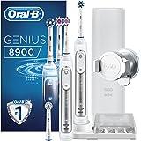 Oral-B Genius8900 Elektrische Zahnbürste, 2 Handstücke mit Bluetooth-Verbindung, 3Aufsteckbürsten, Reise-Etui, weiß/silber