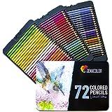72 Lápices de Colores (Numerado) con Caja de Metal de Zenacolor - 72 Colores Únicos para Libro de Colorear para Adultos - Fácil Acceso con 3 Bandejas - Regalo Ideal para Artistas, Adultos y Niños