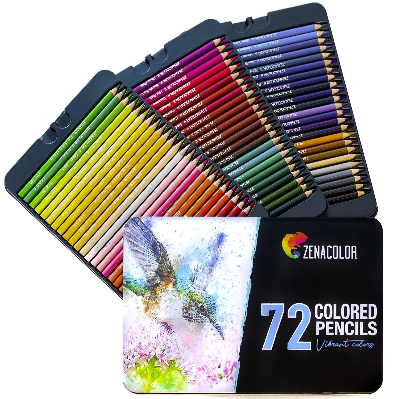 120 Matite Colorate (Numerato) con Scatola in Metallo da Zenacolor - 120 Colori Unici per Disegnare e Libri da Colorare Adulti - Facile Accesso con 3 Vassoi - Regalo Ideale per Artisti, Adulti e Bambini Twinz Products