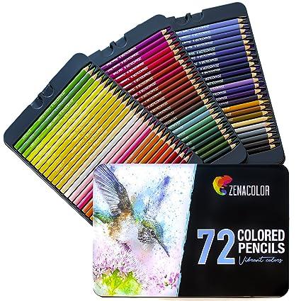 72 Buntstifte mit Metallbox von Zenacolor - 72 einzigartige Farben für Zeichnung und Malbuch für Erwachsene - Leichter Zugang