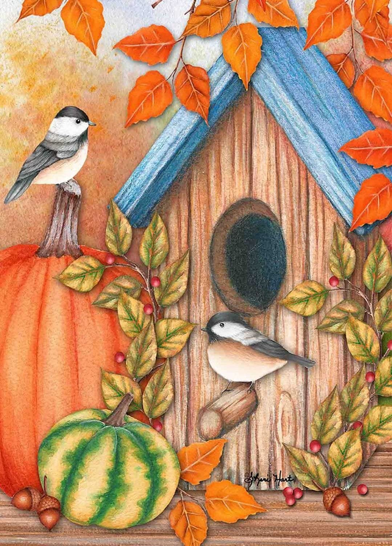 "Briarwood Lane Autumn Home Chickadees House Flag Fall Pumpkins 28"" x 40"""