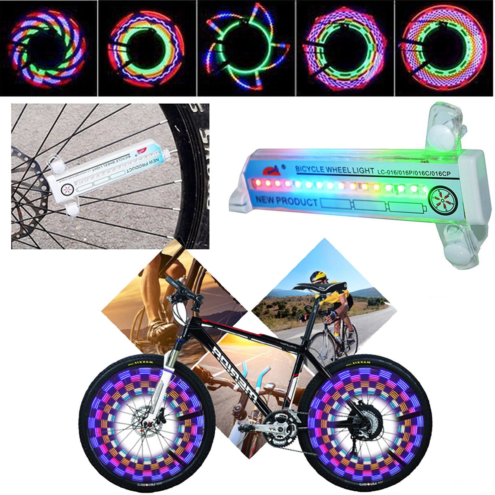 Bicycle Wheel Lights 32 LED Spinning Light Lamp Bike Accessories Valve Flashing Spoke Light Cycling Bikes Bicycles Outdoor (32 Pattern) by Fashionlive (Image #7)