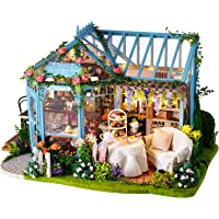 Miniature Dollhouse Kit - DIY Doll House Wooden Miniature House Tiny House Kit Assembly Dollhouse With Furniture & LED…