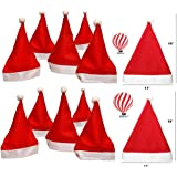 HK Balloons 12 Pcs Christmas Hats, Santa Claus Caps for Kids and Adults, Free Size, Xmas Caps (Pack of 12)
