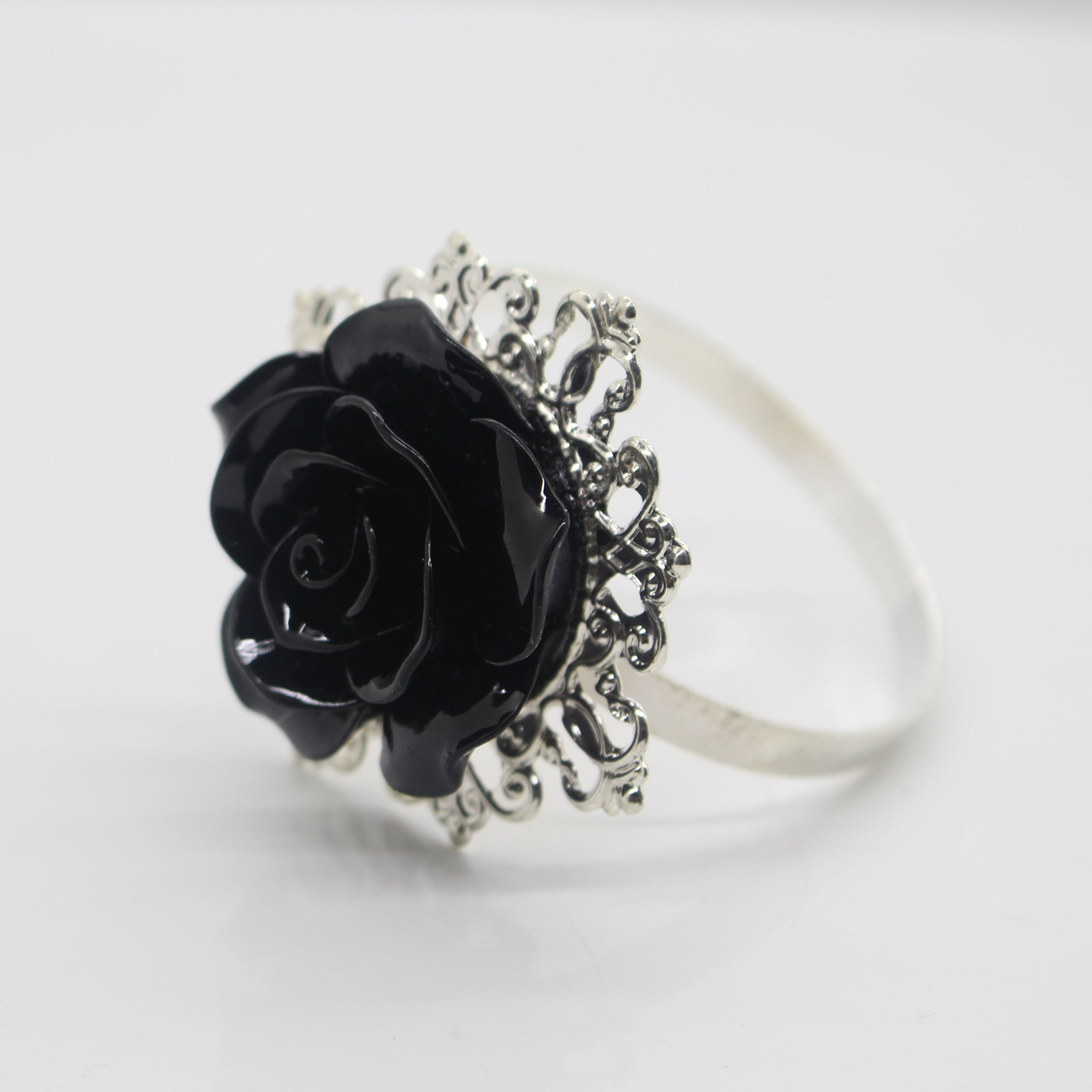 AngHui ShiPin 10pcs Black Rose Decorative Silver Napkin Ring Serviette Holder for Wedding Party Dinner Table Decor Many Color Available for Christmas Table