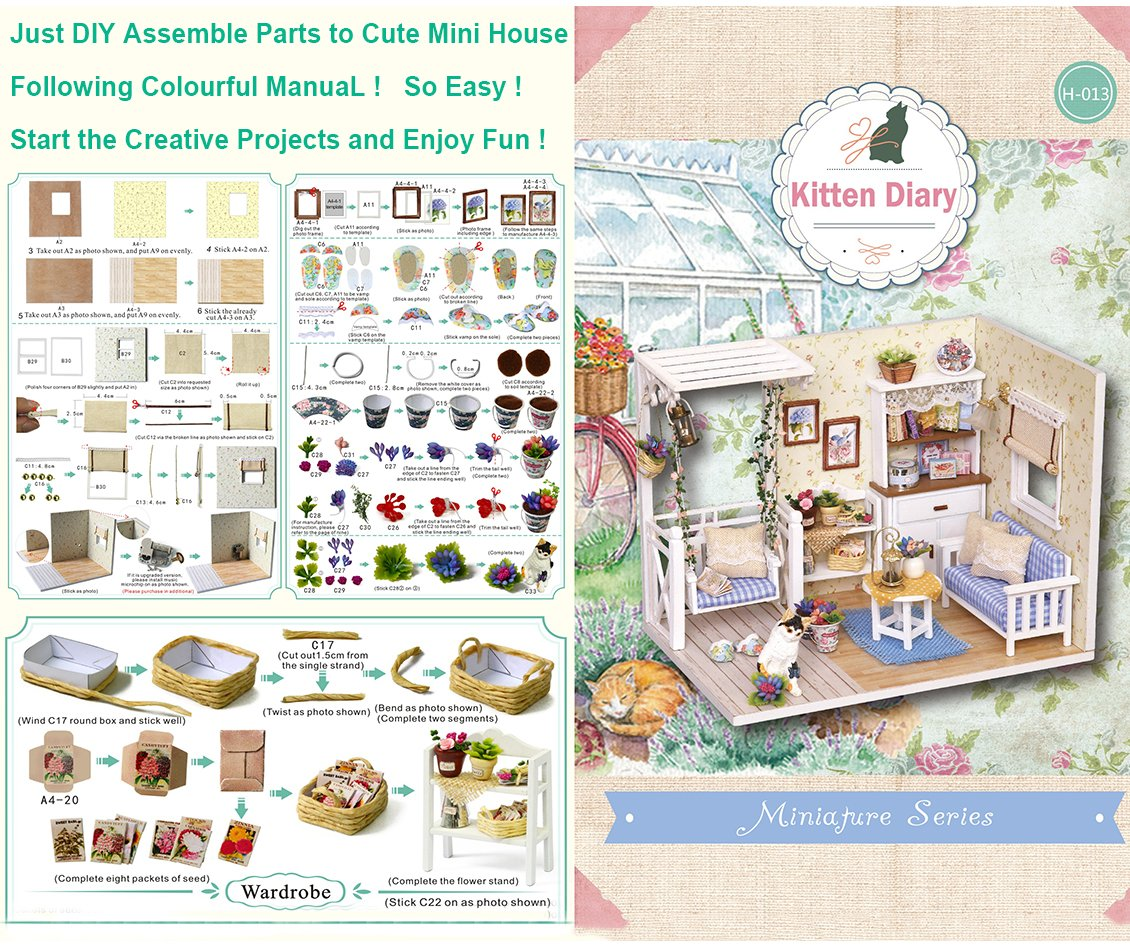 CUTEBEE Miniatura de la casa de mu/ñecas con Muebles Equipo de casa de mu/ñecas de Madera DIY Cat Diary m/ás Resistente al Polvo y el Movimiento de m/úsica,