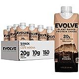 Evolve Plant Based Protein Shake, Mellow Mocha, 20g Vegan Protein, Dairy Free, No Artificial Sweeteners, Non-GMO, 10g Fiber,
