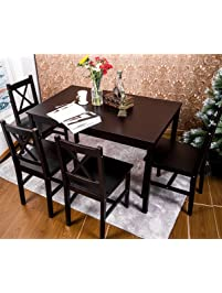 Merax 5 PC Solid Wood Dining Set 4 Person Table And Chairs(Dark Espresso) Part 39