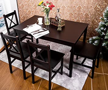 Amazoncom Merax 5 PC Solid Wood Dining Set 4 Person Table and