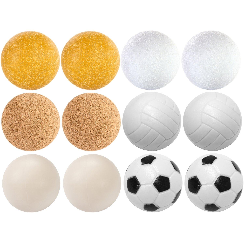 Maxstore 12 palline di kicker mix, 6 diverse varietà (2x sughero, 4x PE, 2x PU, 4x ABS), diametro 35mm, palline da calcio da calcio, palla
