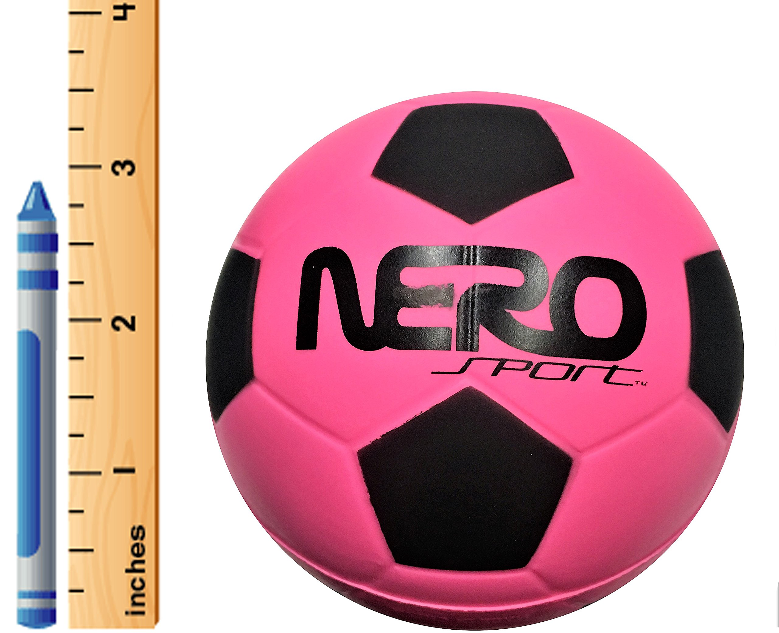 Nero Sports High Bounce Rubber Toy Ball 3.5'' Miniature Soccer Futbol Training Style Great For Streets Park Back Yard Agility Ball Bulk Wholesale Gifts (pink soccer)