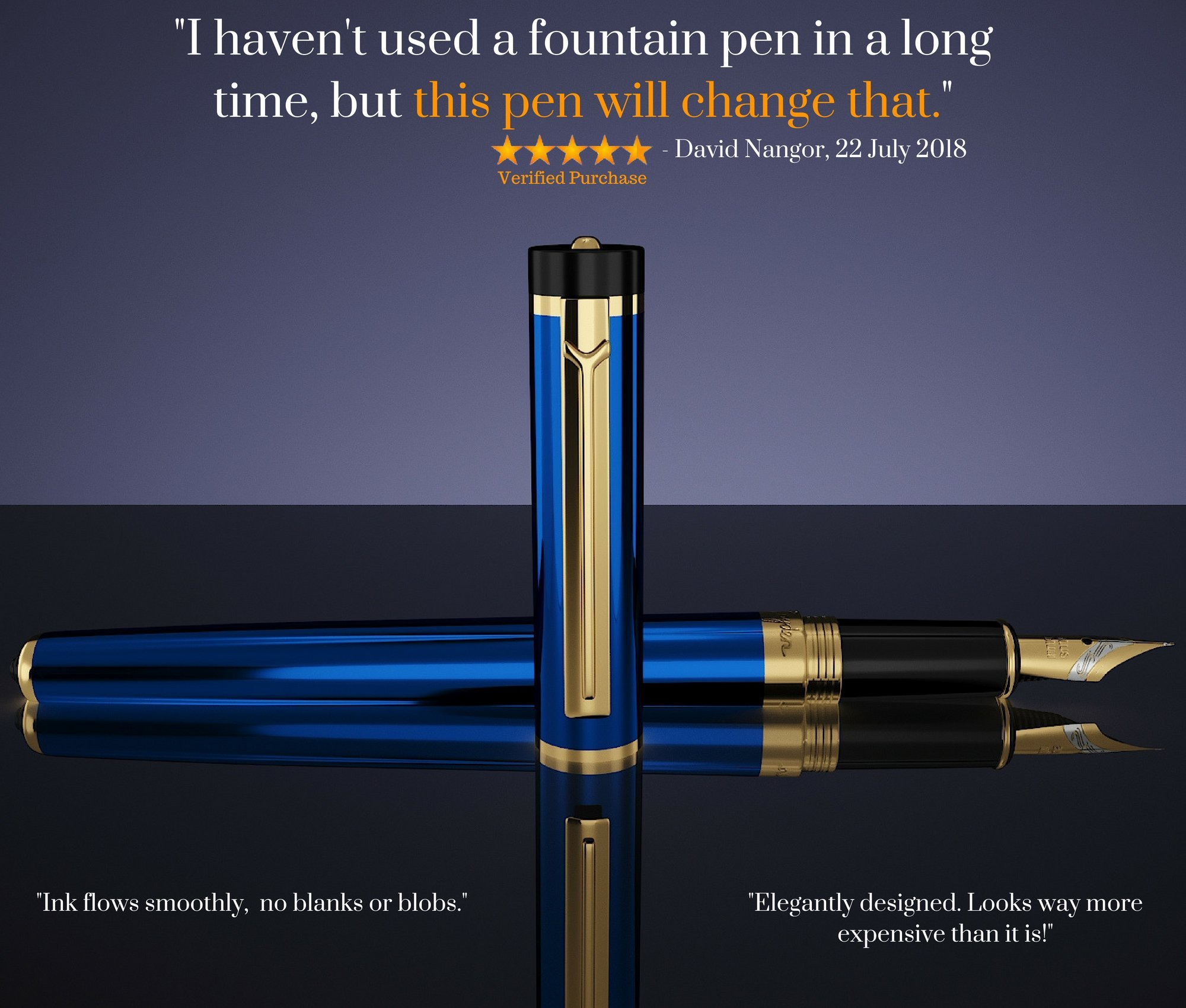 Dryden Luxury Fountain Pen [MYSTERIOUS BLUE] | Modern Classic Limited Edition | Executive Fountain Pens Set | Vintage Pens Collection | Business Gift Pen | Calligraphy | Ink Refill Converter by Dryden Designs (Image #2)
