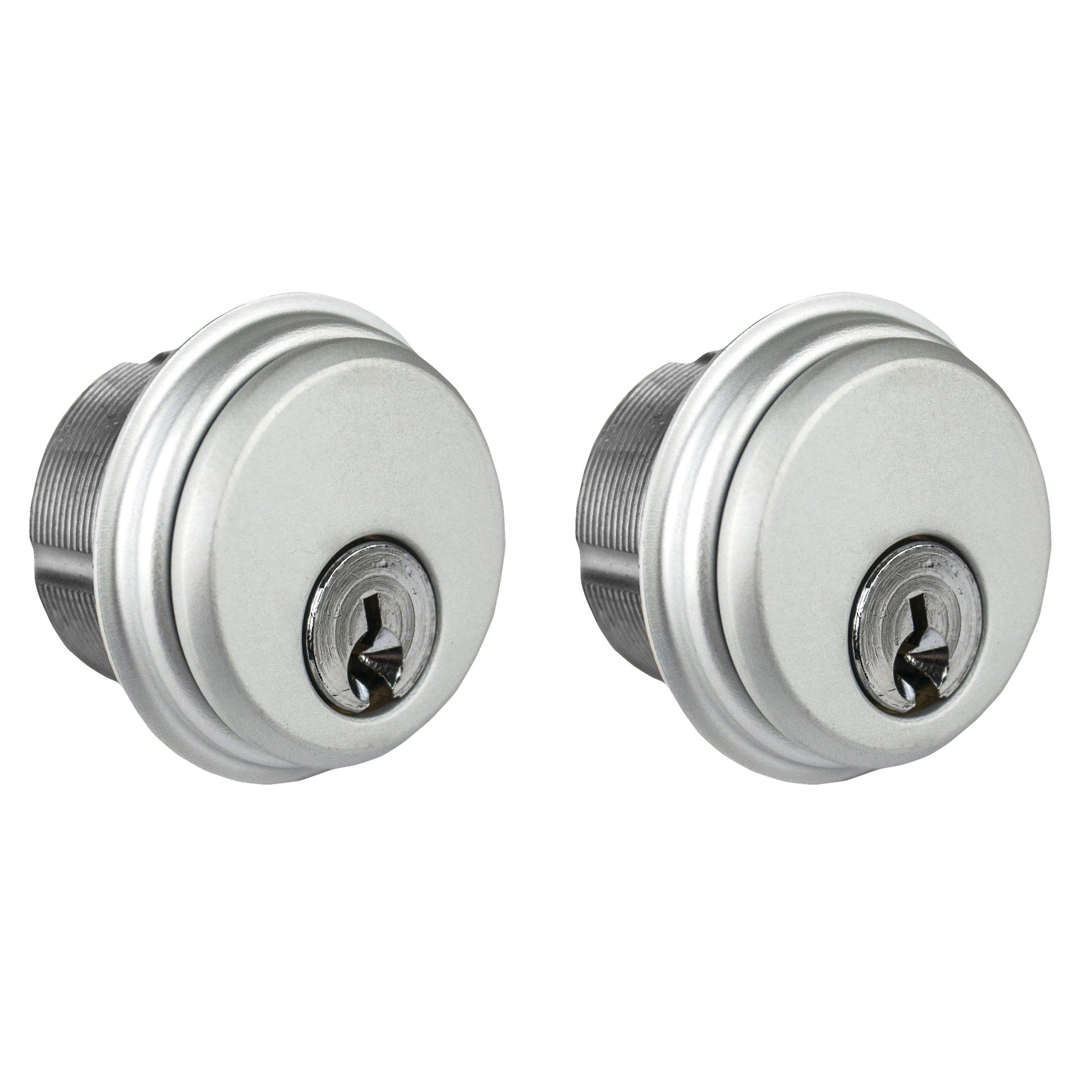 Global Door Controls Double Zinc Mortise Cylinder in Aluminum