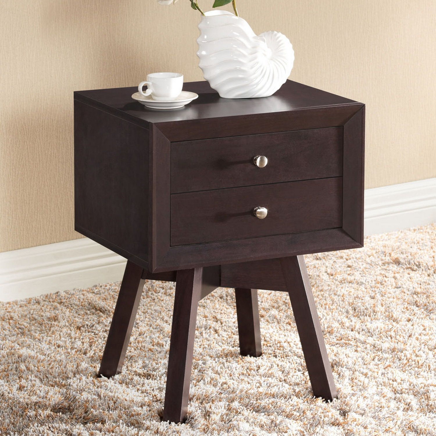 amazoncom baxton studio warwick modern accent table and nightstand brown kitchen dining - Modern Nightstand