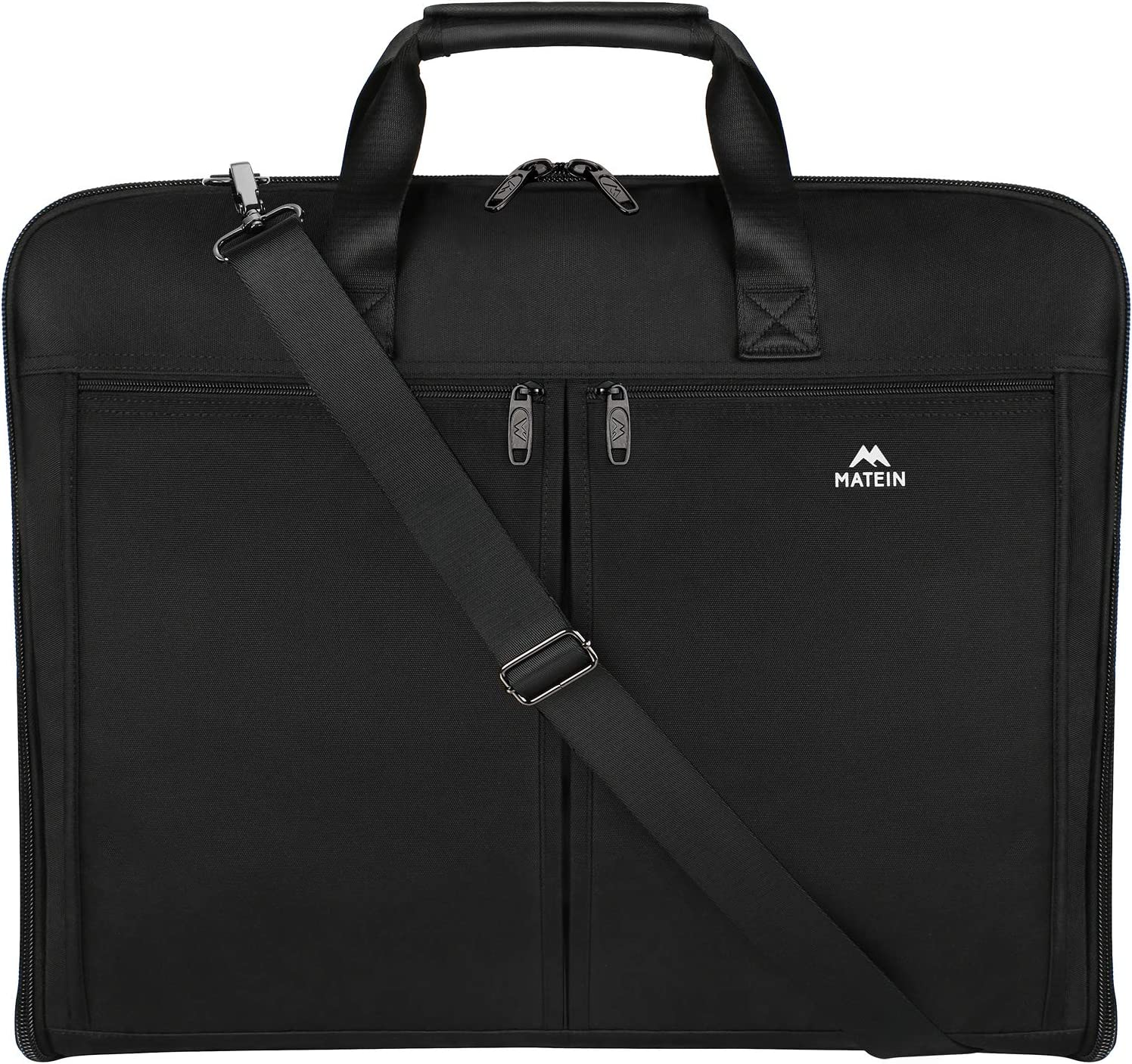 Matein Travel Garment Bag, Carry On Garment Bags for Men Women, 2 in 1 Luggage Suit Bags for Business Trip, Slim Hanging Suitcase for Dress, Suits, Black