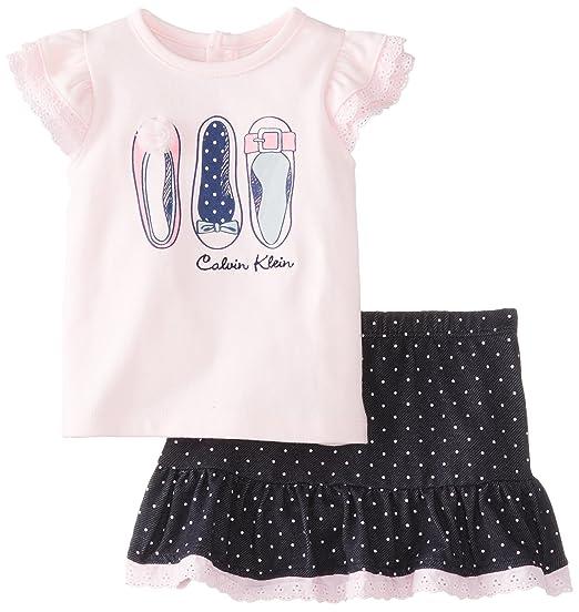 d1a68421a9 Amazon.com  Calvin Klein Baby-Girls Newborn Top with Skort