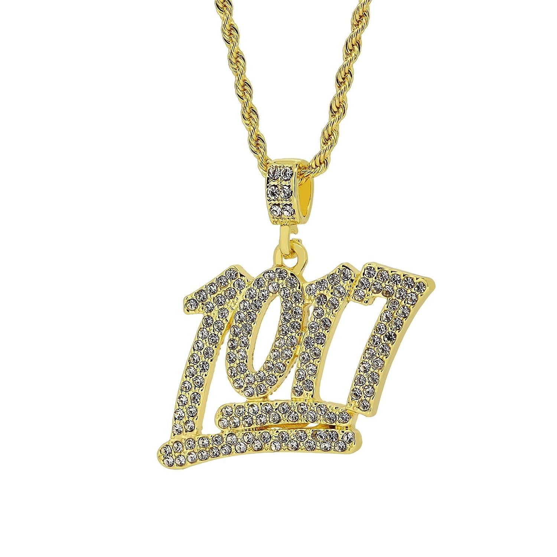 vergoldet Iced Out 1017Nummer Anhänger HIP HOP BLING Seil Kette Halskette Bling King gp358
