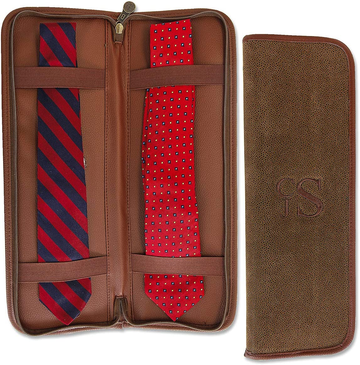 Personalized Brown Faux Suede Tie Travel Case