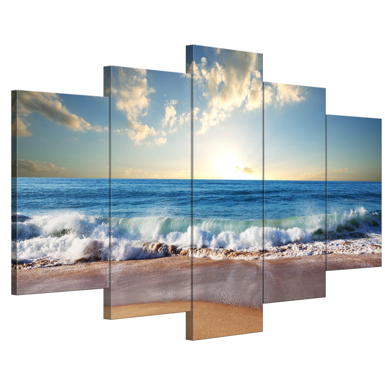 【リブラLibra】 5パネルセット アートパネル インテリアアート 海の景色 キャンバス絵画 (木枠付きの完成品) (L, LP1740) B078W35PM6 Large|LP1740 LP1740 Large