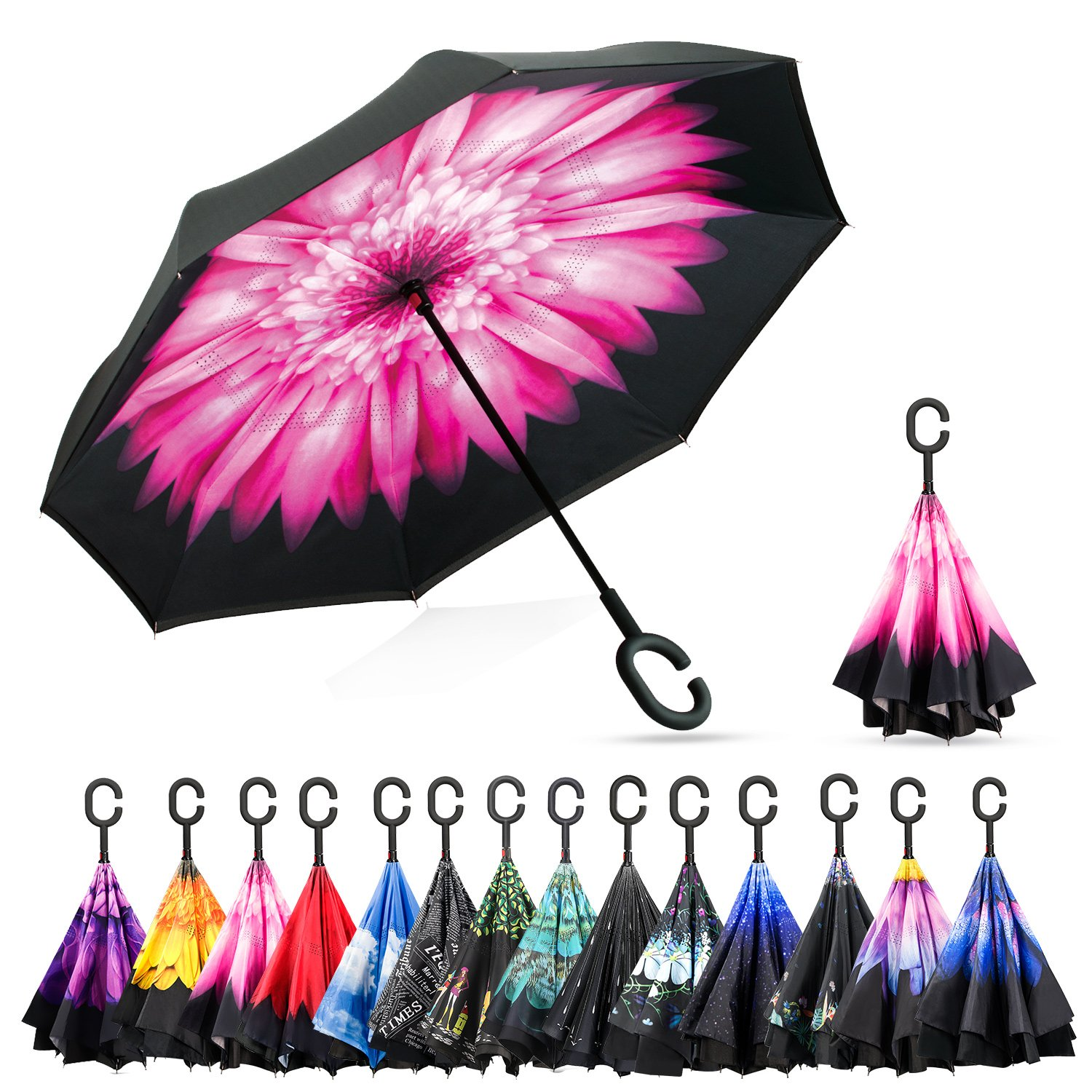 Elover 32in X 8 Panels Double Layer Inverted Umbrella, B - Pink Daisy