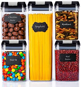 Airtight Food Storage Containers with Lids, 5 Pieces Kitchen Pantry Storage Containers BPA Free Plastic Cereal Containers for Pantry Organization and Storage