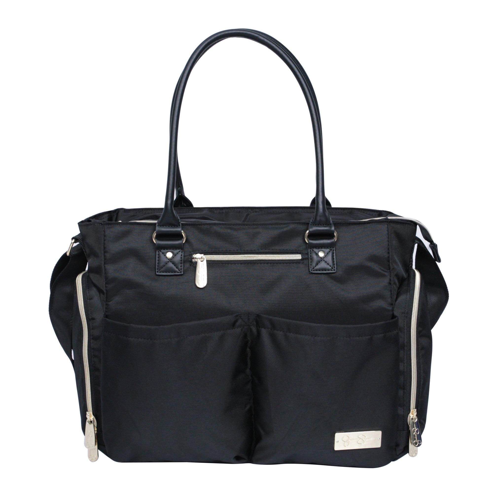 Jessica Simpson 3Pc City Tote Diaper Bag Baby Shoulder Handbag Purse, Black