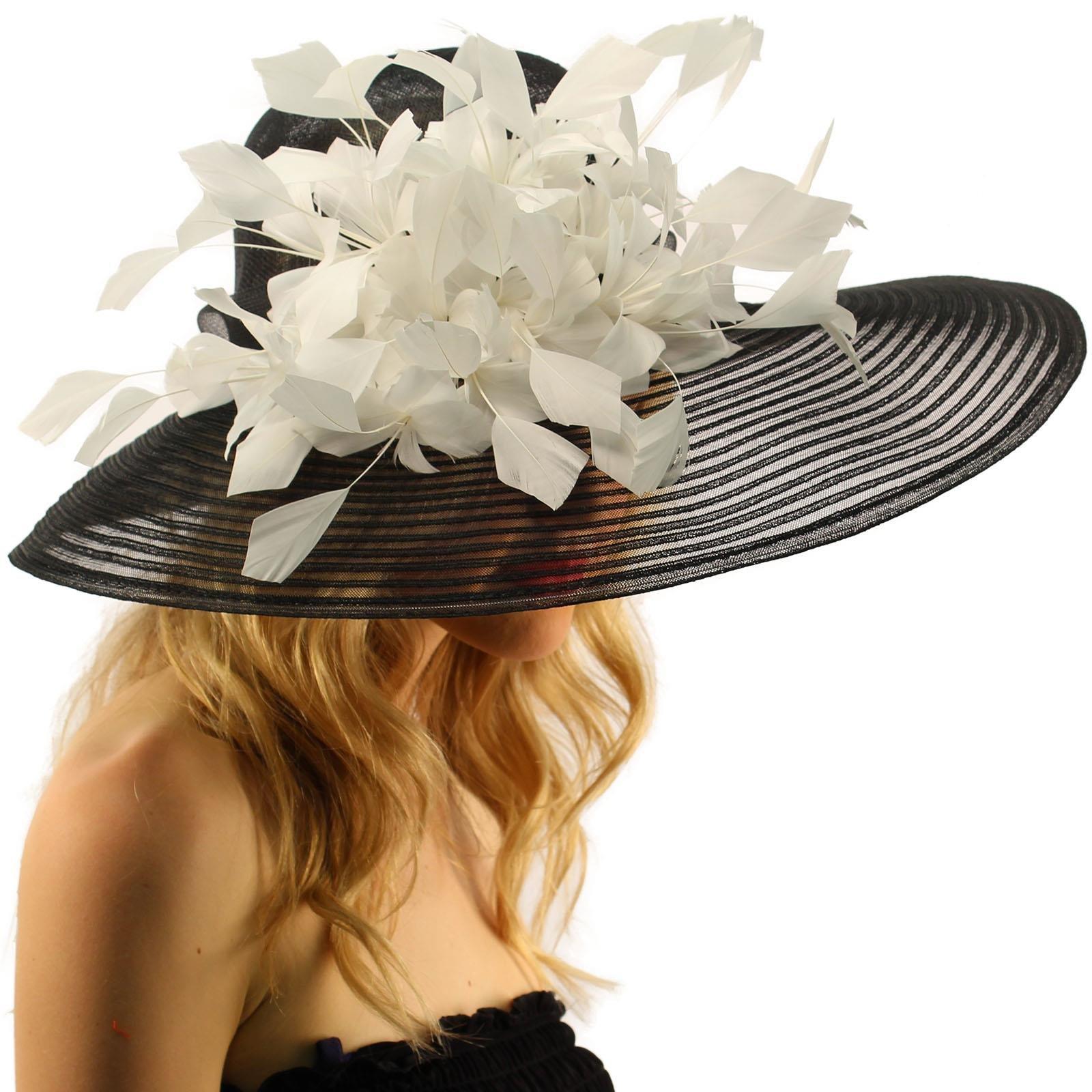 SK Hat shop Spectacular Spray Feathers Sinamay Derby Floppy Wide Brim 7'' Dress Hat Black/White