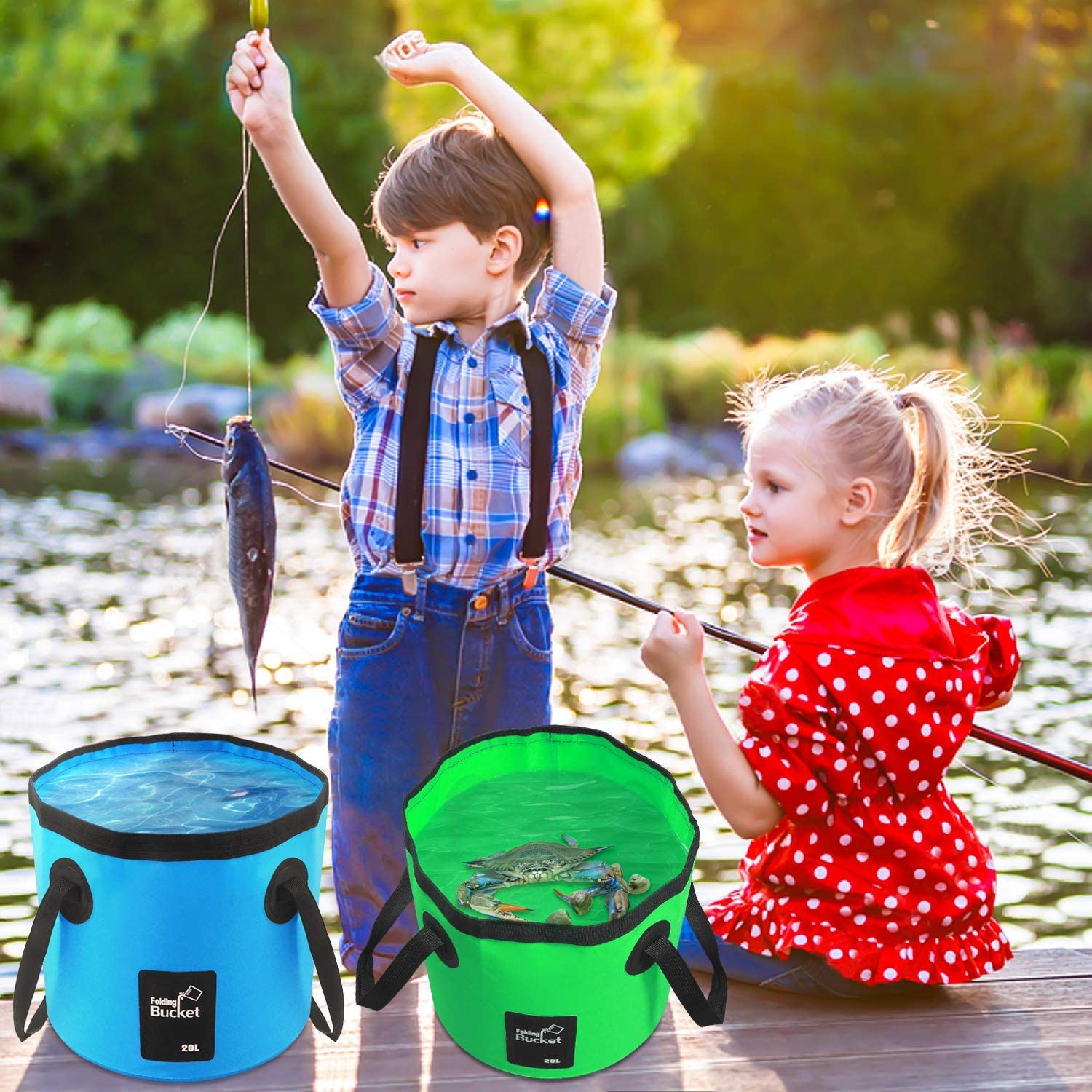 20L AINAAN Multifunctional Collapsible Portable Outdoor Basin Folding Bucket Water Storage Bag for Camping Hiking Travel Fishing Caravan Washing Blue