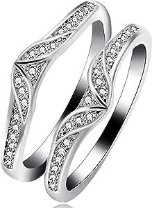 Uloveido Anillo de Oro Blanco Plateado Enhancer para Compromiso Anillos de Aniversario de Bodas Enhancer for Women Girls with Created Diamond Y475