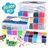 30,000 pcs Fuse Beads Kit 30 Colors 5MM for Kids, Including 10 Ironing Papers,48 Patterns, 7 Clear Pegboards, Tweezers, Perle