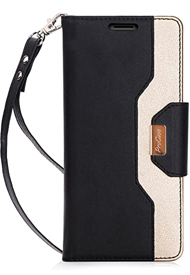 new arrival a1e31 b1af3 ProCase iPhone Xs/iPhone X Wallet Case, Flip Kickstand Case with Card Slots  Mirror Wristlet, Folding Stand Protective Cover for 5.8 inch Apple iPhone  ...