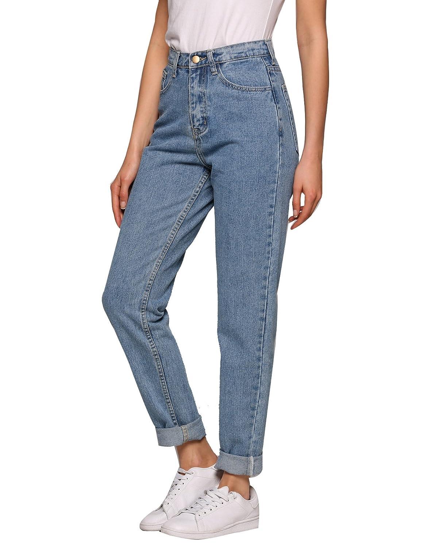 AKEWEI Women's Jeans, Evensleaves High Waist Solid Vintage Straight-Leg Denim Pants AKEWEI Women's Jeans