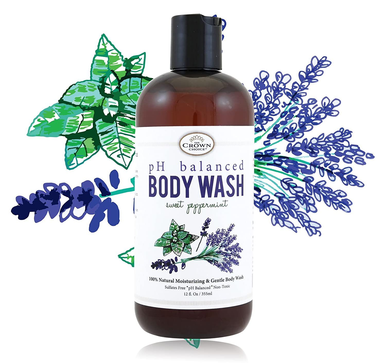 100% Natural Vegan Liquid Bath Soap, pH Balanced Body Wash for Sensitive Skin | Naturals Non Toxic Shower Gel for Men Women | Aloe, Spearmint, Lavender, Manuka