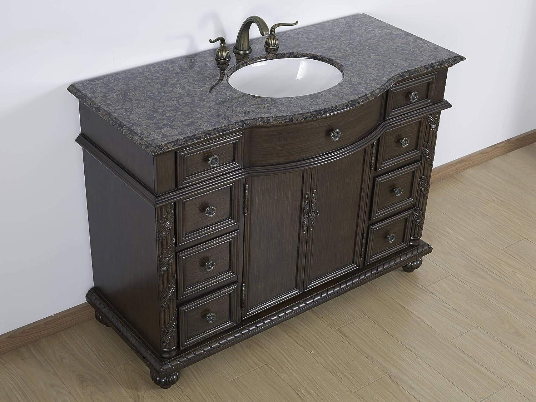 """33 Single Bathroom Vanity: 48"""" Bathroom Vanity W/ Baltic Brown Granite Top Single"""