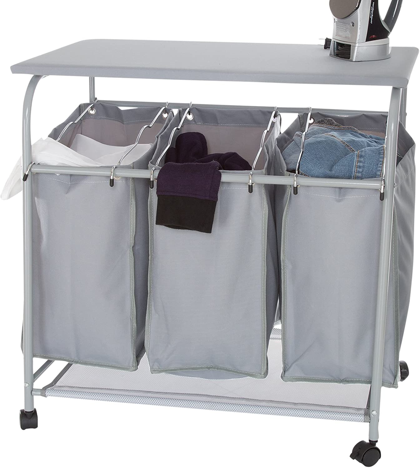 Lavish Home Rolling 3 Bin Laundry Sorter and Ironing Station-Gray