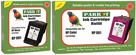 Parrot Ink Cartridge Refill for HP 901 Black and HP 901 Color, Combo Ink Cartridges