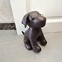 Leatherette Animal Door Stopper Doorstops Book Stopper Wall Protectors Anti Collision Decorative Dog (Brown)